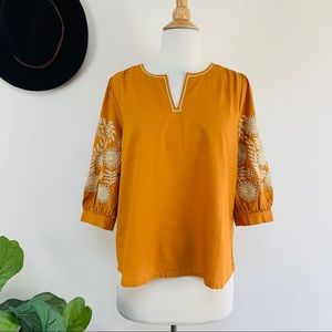 New Madewell embroidered sleeves popover top